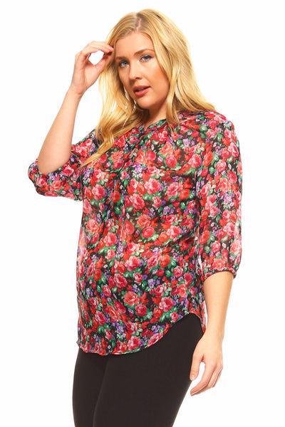 Women's Plus Size Floral 3/4 Three Quarter Blouse Top
