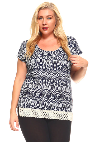 Women's Plus Size Aztec Print Crochet Trim Top