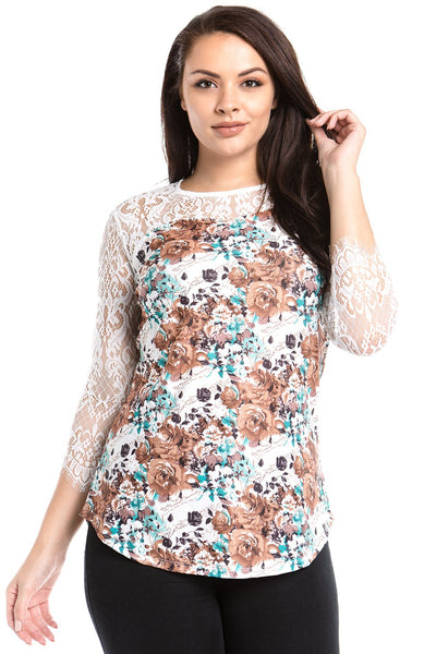 Women's Plus Size 3/4 Three Quarter Lace Sleeve Floral Print Top