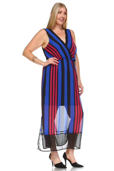 Women's Plus Size Striped V-Neck Chiffon Maxi Dress