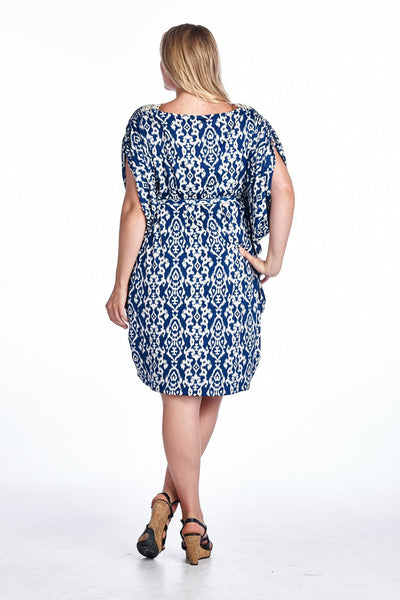 Women's Plus Size Ikat Printed Crochet Dress