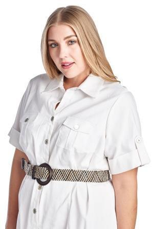 Women's Plus Size Button Down Belted Shirt Dress