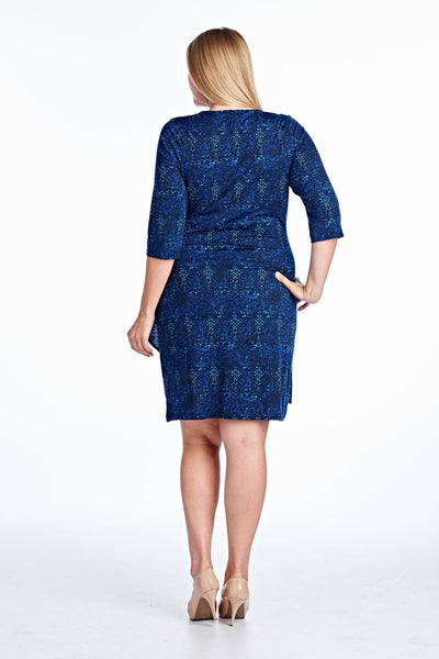 Women's Plus Size 3/4 Three Quarter Sleeve Square Neck Sheath Dress