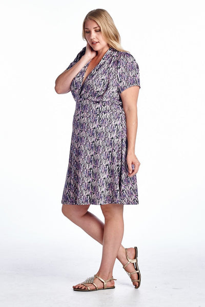 Women's Plus Size Plush Stripe Cutout Dress