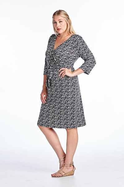 Women's Plus Size Wrap Midi Dress with Front Tie