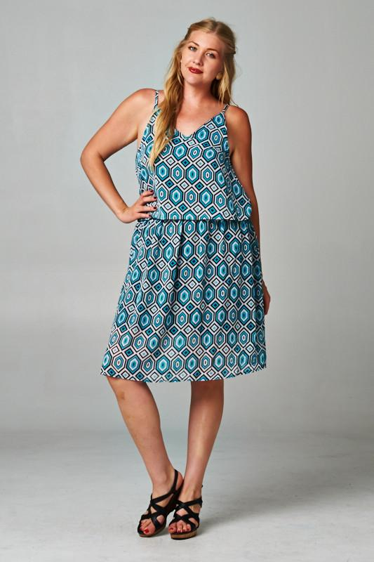 Women's Printed Chiffon Dress with Elastic Band