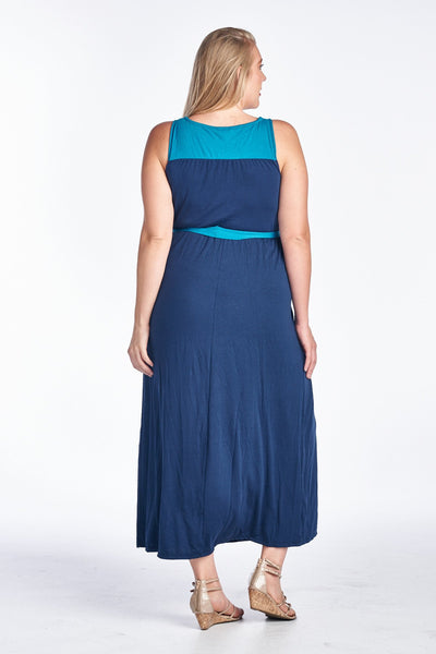 Women's Plus Size Sleeveless Colorblock Dress