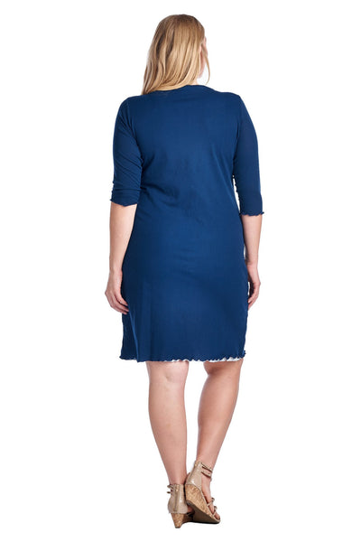 Women's Plus Size 3/4 Sleeve V-Neck with White Lining Dress