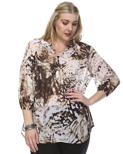 Women's Plus Size 3/4 Sleeve Button Front Top