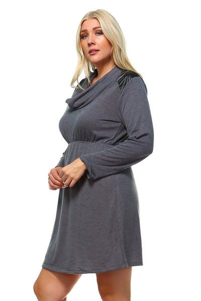 Women's Plus Size Long Sleeve Sweater Dress with Faux Leather Shoulder Patch