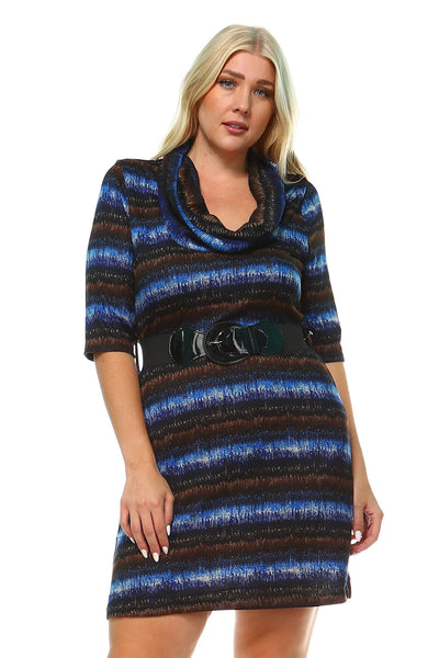 Women's Plus Size Draped Neckline Sweater Dress with Waist Belt