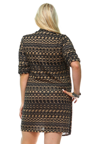 Women's Plus Size Printed Dress with Attached Front Slip
