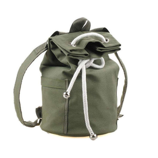 HXR - Men's Backpack New Large Capacity Men Drawstring Backpack Canvas Bucket Bag
