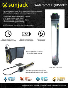 Waterproof LightStick Powerbank - SunJack  - 3