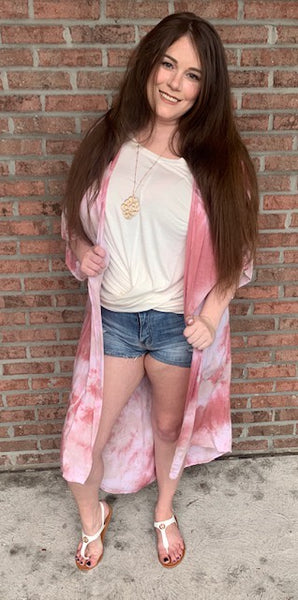 Fit To Be Tie Dyed Kimono - Dusty Rose
