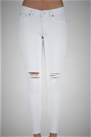 Stop The Show Ankle Skinny Jeans - White