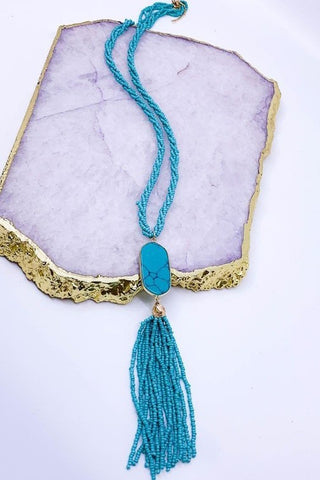 Seed Bead Tassel Necklace - Turquoise