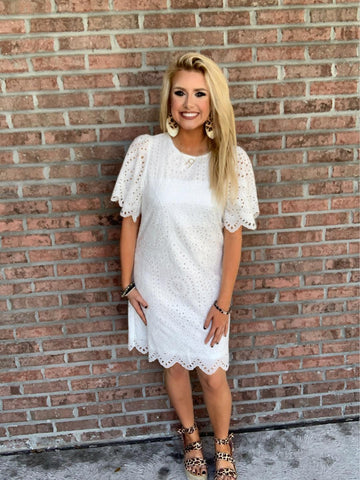 Easy On The Eyelet Dress - White