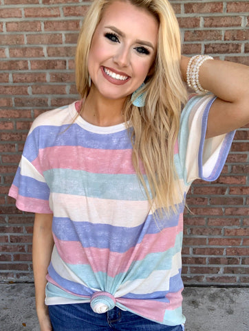 Hello Spring Top- Pastel Stripe