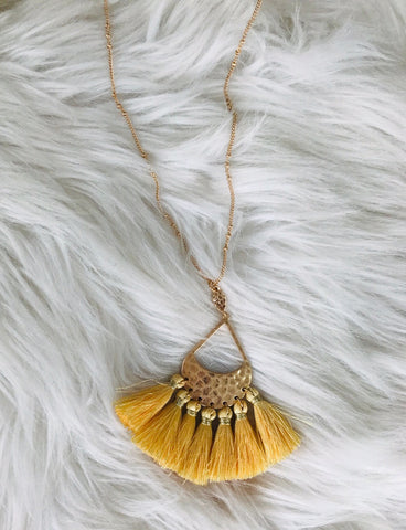 Teardrop And Tassel Necklace - Daffodil