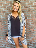 On The Sly Snake Print Kimono - Grey