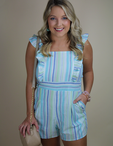 Feels Like Summer Romper - Aqua