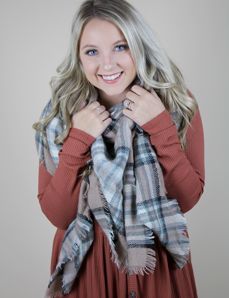 Pretty In Plaid Blanket Scarf - Beige