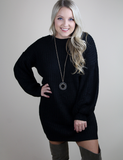 Stay With Me Sweater Dress - Black