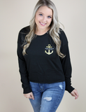 Simply Southern Shortie  Anchor Tee - Black