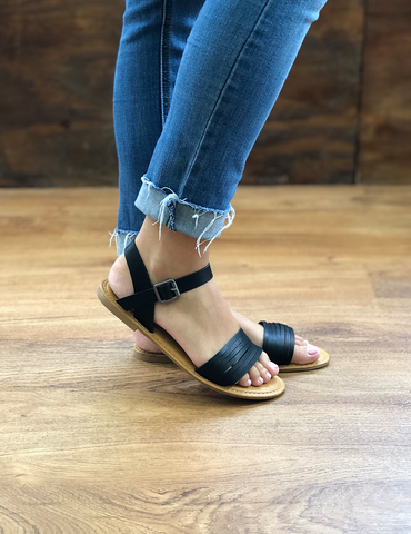 Time Won't Stop Sandals - Black
