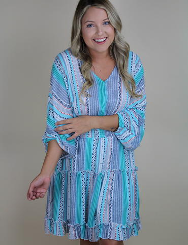 Where Have You Been Dress - Teal Multi