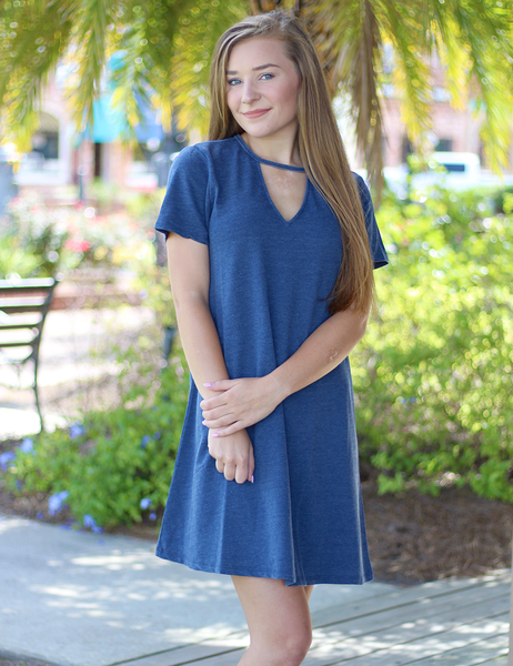 Z Supply: The Cut Out Front Tee Dress - Blue