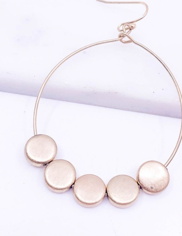 Brass Round Disc Earring