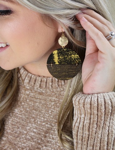 Leather Disc Earrings