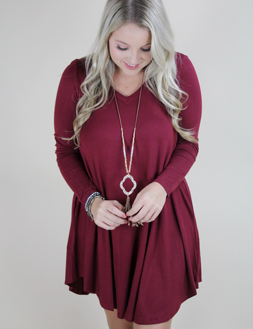 Right In Time Dress - Burgundy