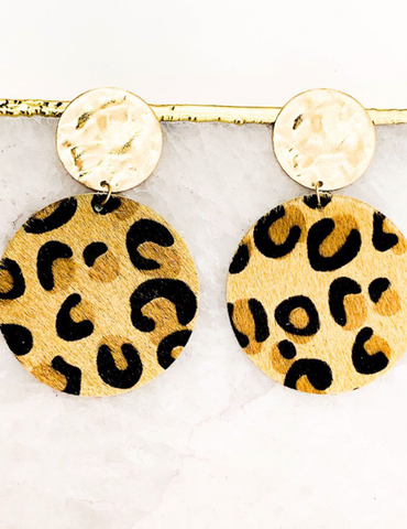 Leopard Circle Drop Earrings