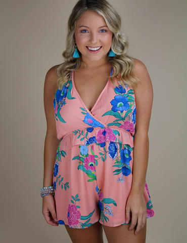 Come My Way Romper - Dusty Peach