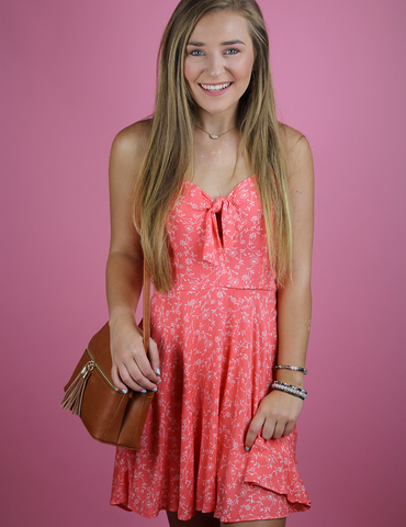 Let's Cruise Back Dress - Coral