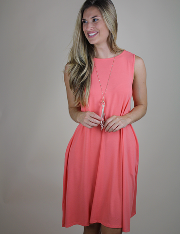 Always There For Me Dress - Deep Coral