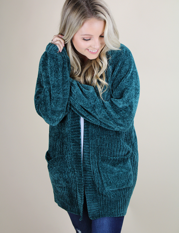 Cozy Up To Someone Cardigan - Emerald