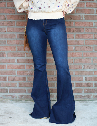 Buddy Love: Touch The Sky Flare Jeans - Dark Blue