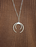 Hammering Double Horn Necklace
