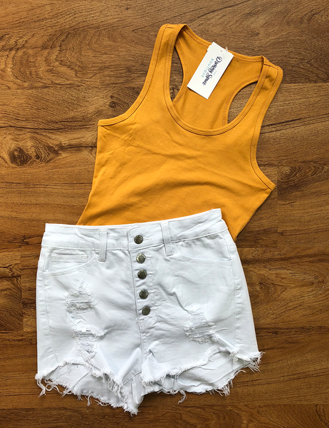 Out With A Bang High Waisted Shorts - White