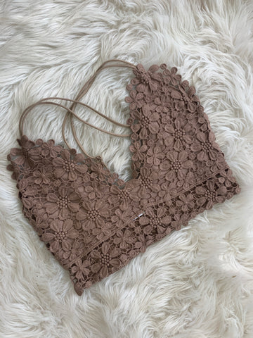 The Flower Power Bralette - Taupe
