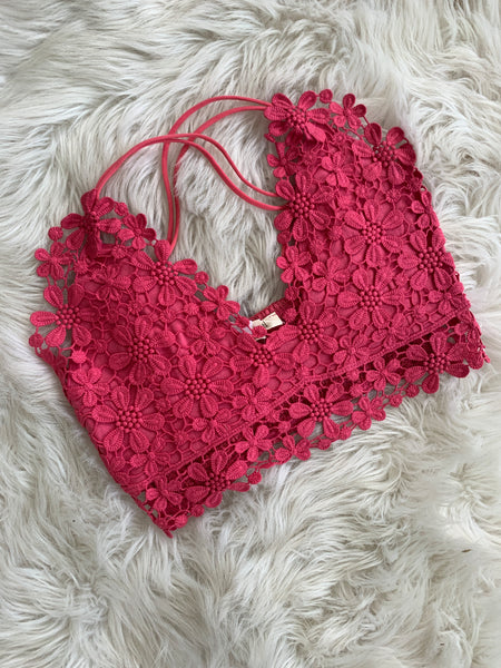 The Flower Power Bralette - Coral