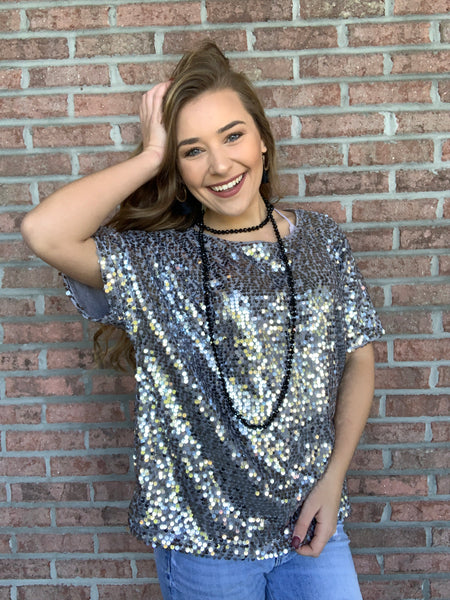 Hide And Sequin Top - Silver