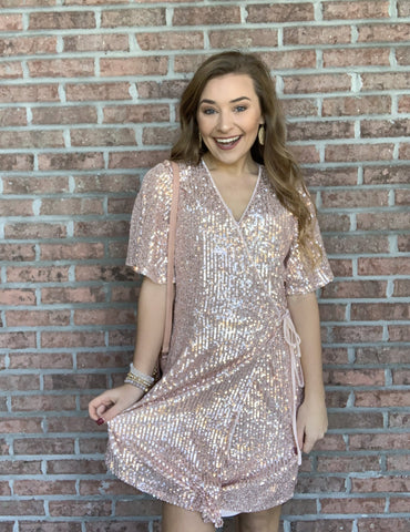 Making A Statement Dress - Rose Gold