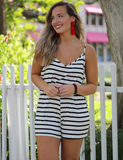 On The Lookout Romper - Black/Ivory