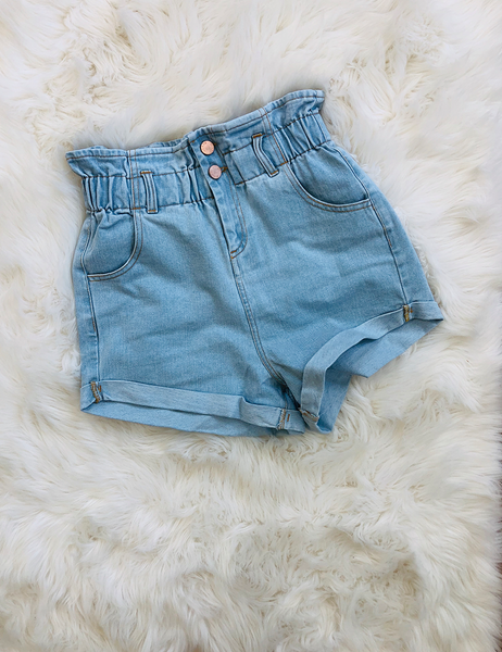 Be There For Me Shorts - Light Denim