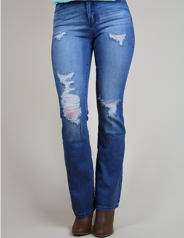 Will You Be Mine Flare Jeans - Medium Blue